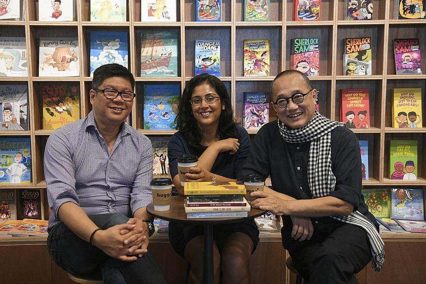 Times Bookstores unveils Times Junior, its first standalone multi-category concept store for children, in Jewel Changi Airport tomorrow. (From left) Huggs Coffee owner Ron Choo, author Balli Kaur Jaswal and Epigram Books founder Edmund Wee at the Hug