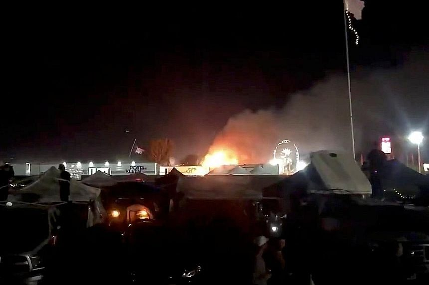 A mobile shower facility on the Coachella campground in Indio, California, was on fire last Saturday.