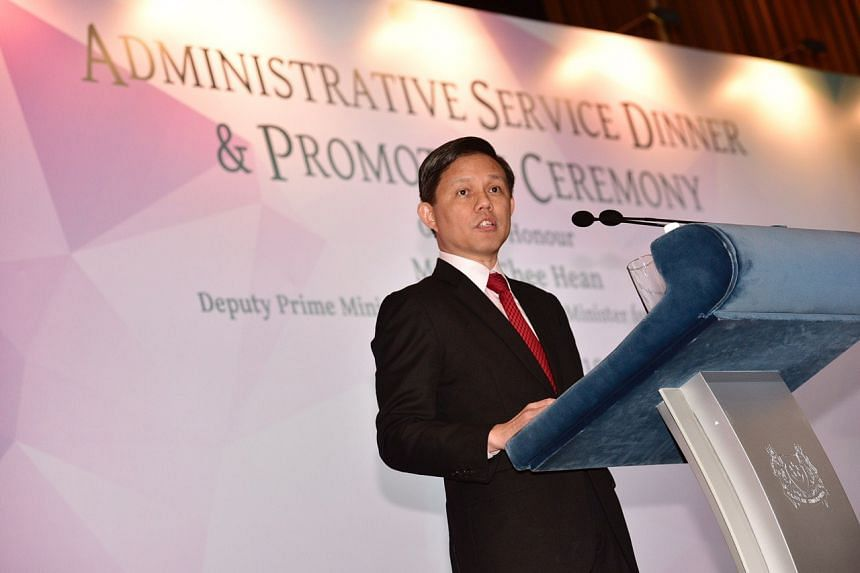 """Trade and Industry Minister Chan Chun Sing said in a speech at the annual Administrative Service dinner and promotion ceremony on Tuesday (April 16) that as a political office-holder, it is his job to """"stand in the gap"""" and his duty to take the publi"""