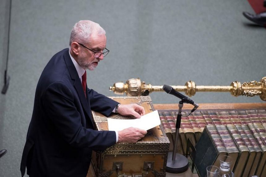 Opposition Labour party leader Jeremy Corbyn speaking in the House of Commons, in London, on April 11, 2019.