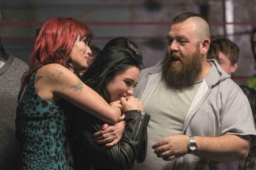 (From left) Lena Headey, Florence Pugh and Nick Frost in Fighting With My Family.