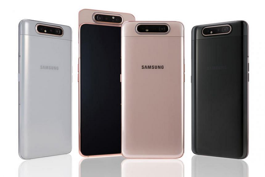 The Samsung Galaxy A80 comes with a triple camera set-up - a 48-megapixel main camera along with a 3D depth one and an ultra-wide-angle one that has the same viewing angle as the human eye.