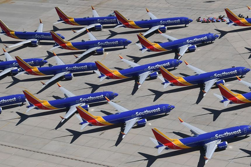 Southwest Airlines Boeing 737 Max aircraft are parked on the tarmac after the plane was grounded.