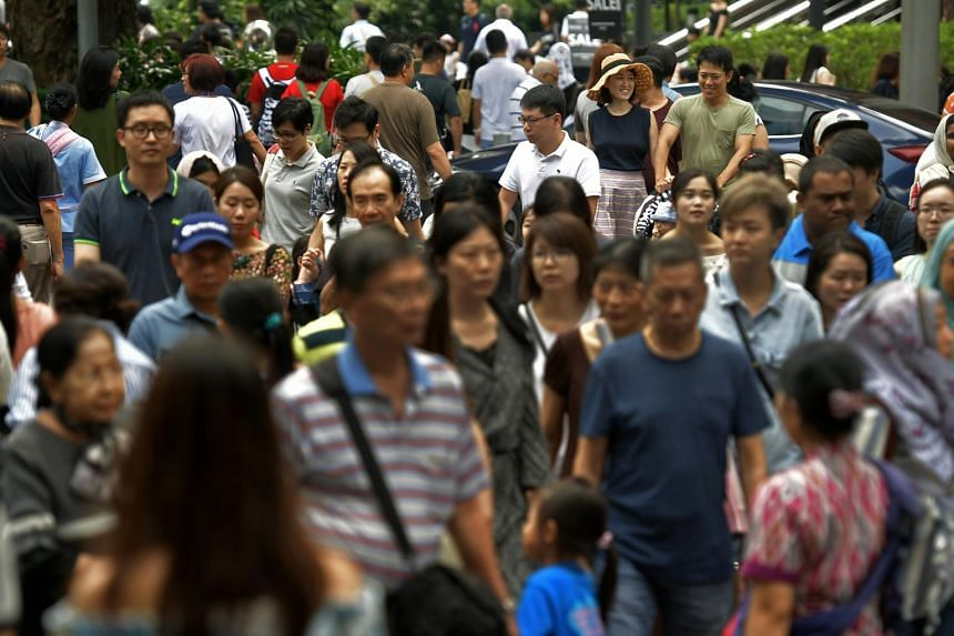 Shoppers at Orchard Road, on Dec 23, 2017.