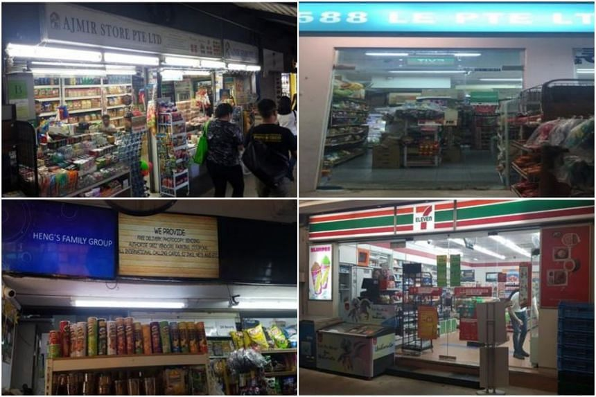 The HSA suspended the tobacco licences of (clockwise from top left) Ajmir Store at 70 Woodlands Avenue 7, 1588 Le at 158B Rivervale Crescent, 7-Eleven at 68 Geylang Bahru, and NH Mart at 620 Hougang Avenue 8.