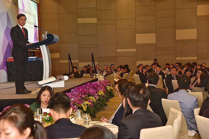 Trade and Industry Minister Chan Chun Sing giving his keynote speech at the Administrative Service Dinner and Promotion Ceremony yesterday. The public service must avoid becoming complacent and stagnant as it becomes more successful and structured, h