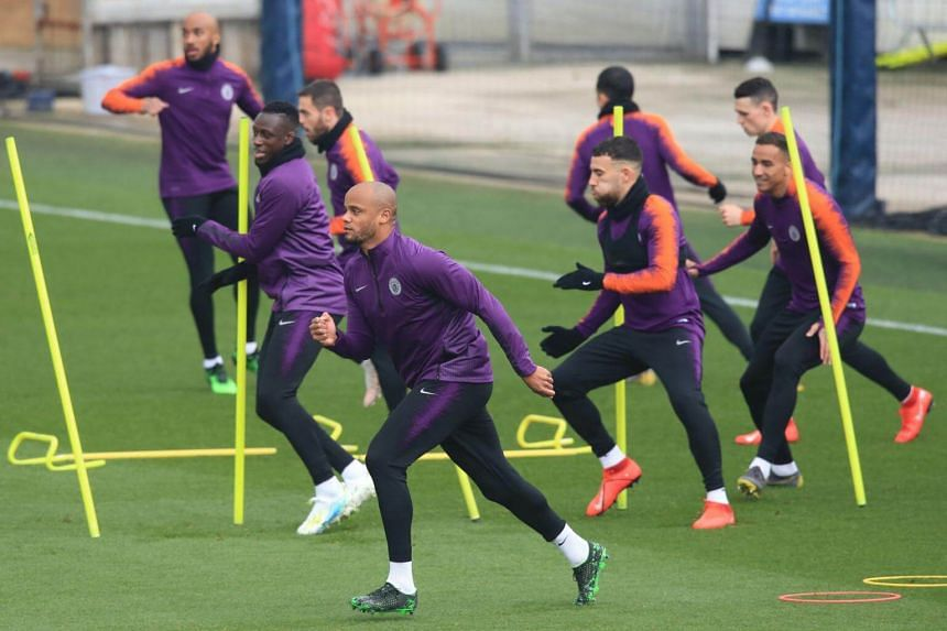Manchester City players attending a training session ahead of their Uefa Champions League against Tottenham Hotspur.