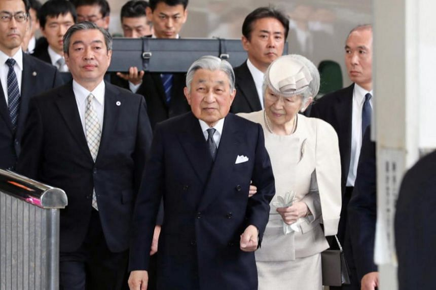 Japanese Emperor Akihito (centre) and Empress Michiko (right) started a three-day pilgrimage on April 17 to the Ise Grand Shrine as part of a series of rituals for his abdication.