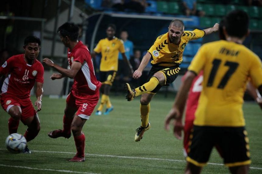 Tampines Rovers' Zehrudin Mehmedovic attempts a shot against Nagaworld FC during their Asian Confederation Cup Group F match at Jalan Besar Stadium on April 17, 2019.