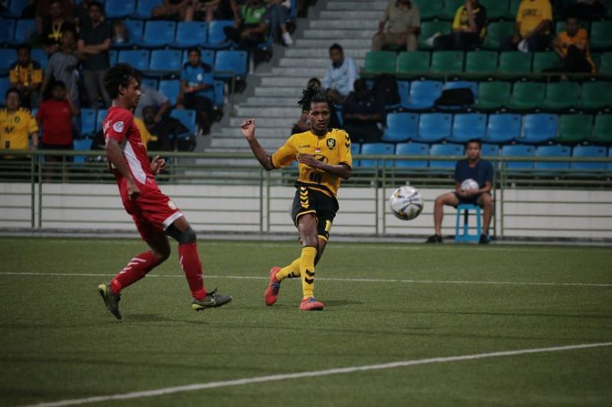 Tampines Rovers' Jordan Webb scoring the fourth goal against Nagaworld FC during their Asian Confederation Cup Group F match at Jalan Besar Stadium on April 17, 2019.