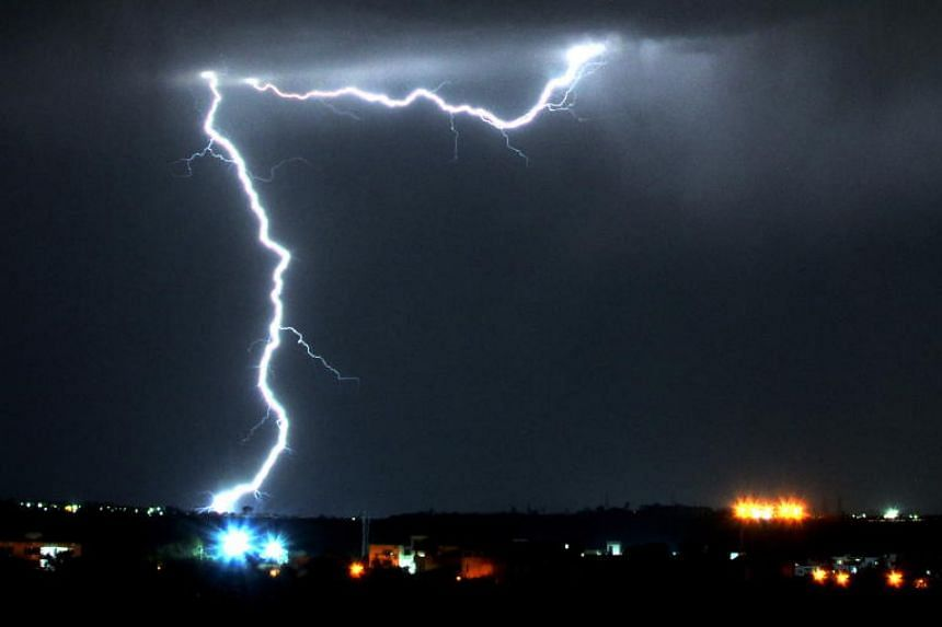 A thunderstorm in Bhopal, in India's Madhya Pradesh state, on April 5, 2019.