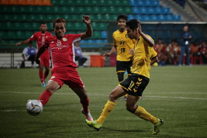 Tampines Rovers' Irwan Shah scores the opening goal against Nagaworld FC during their Asian Confederation Cup Group F match at Jalan Besar Stadium on April 17, 2019.