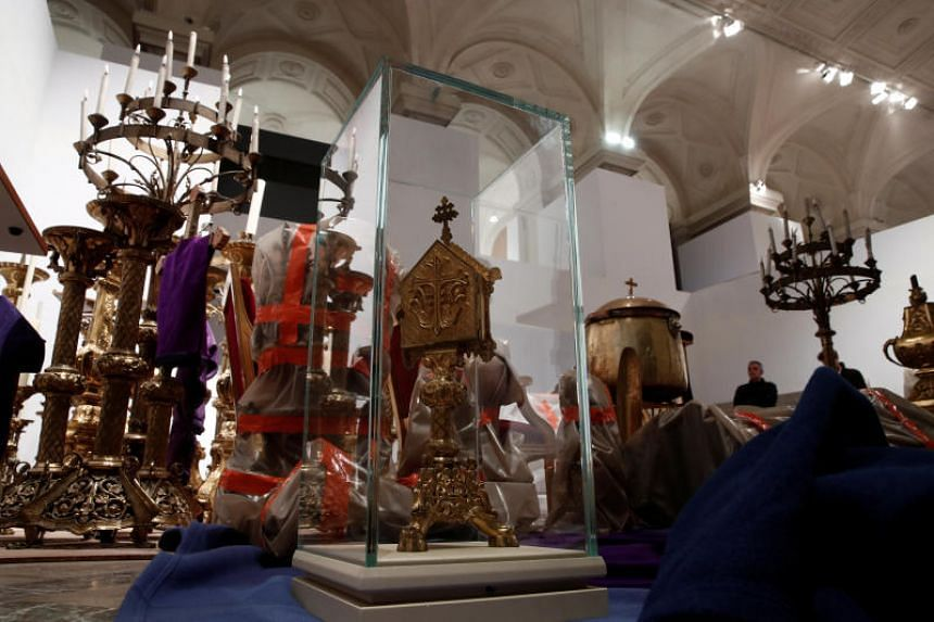 Saved treasures from Notre Dame Cathedral in a room at Paris city hall after a massive fire devastated large parts of the gothic cathedral in Paris, France, on April 16, 2019.