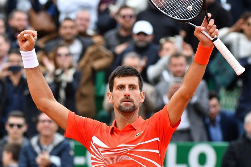 Serbia's Novak Djokovic celebrates after winning his tennis match against Germany's Philipp Kohlschreiber on the day 4 of the Monte-Carlo ATP Masters Series tournament on April 16, 2019 in Monaco.