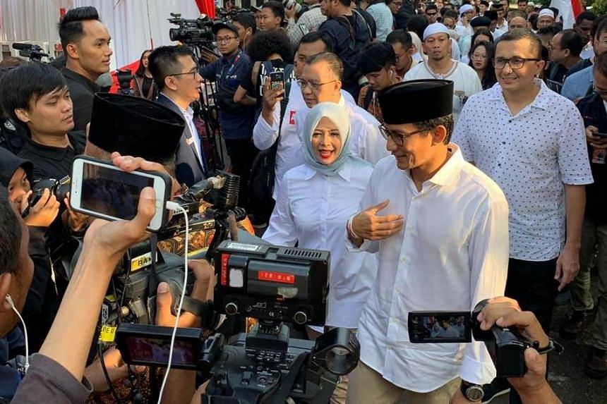 Sandiaga Uno, presidential hopeful Prabowo Subianto's running mate, arriving at a polling station in Jakarta, on April 17, 2019.