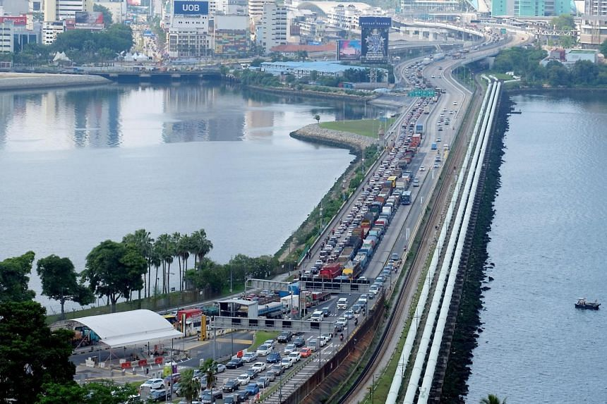 A traffic jam on the Causeway towards Malaysia on Dec 22, 2018.
