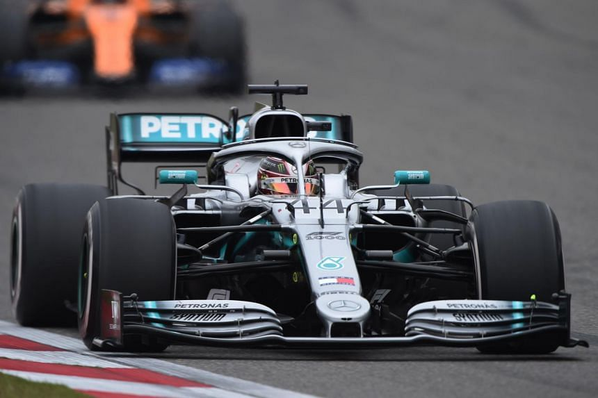 Mercedes' driver Lewis Hamilton manoeuvering his car during the Formula One Chinese Grand Prix in Shanghai on April 14, 2019.