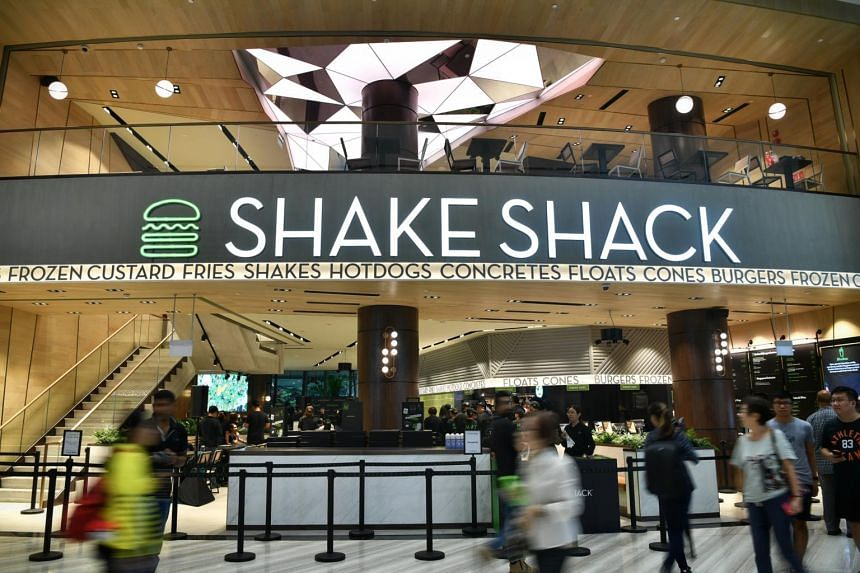 Facade of the Shake Shack outlet in Jewel Changi Airport, on April 11, 2019.