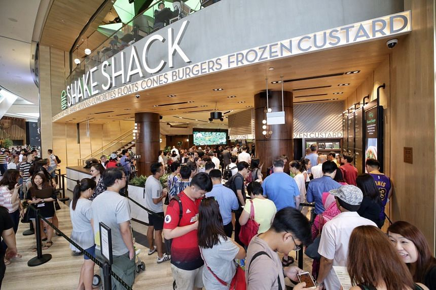 People queueing at Shake Shack in Jewel Changi Airport, on April 17, 2019.
