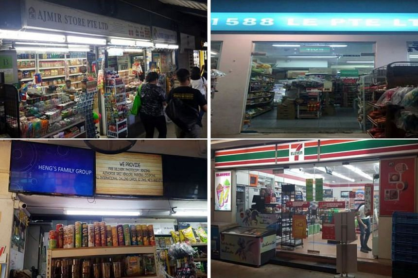The Health Sciences Authority has suspended the tobacco licences of (clockwise from top left) Ajmir Store at Admiralty MRT station (above), 1588 Le at Block 158B Rivervale Crescent, 7-Eleven at Block 68 Geylang Bahru and NH Mart at Block 620 Hougang