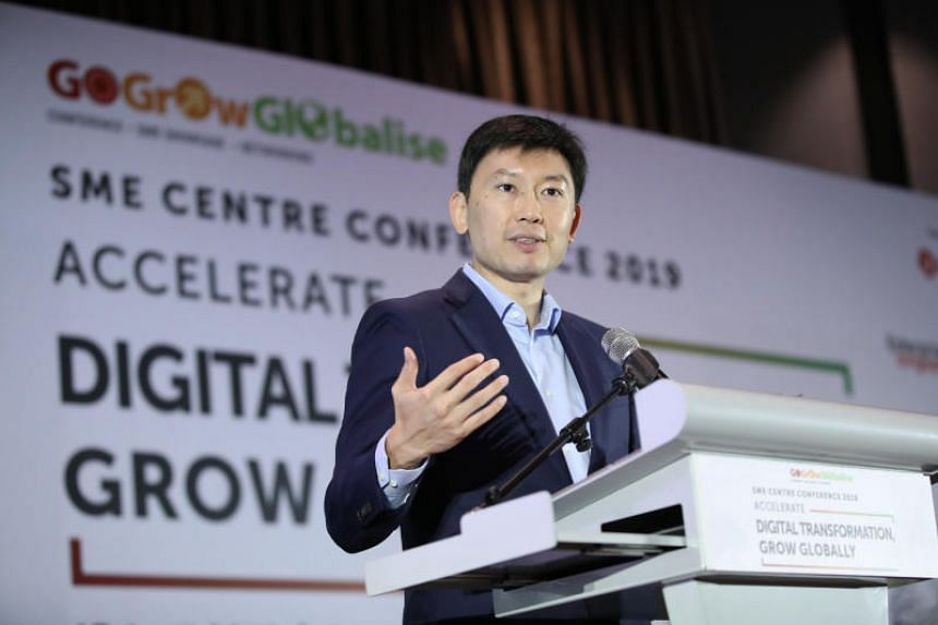 Senior Minister of State for Trade and Industry Chee Hong Tat speaking at the SME Centre Conference on April 17, 2019.