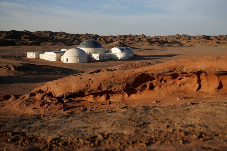 The C-Space Project Mars simulation base in the Gobi Desert outside Jinchang, China, on April 16, 2019.