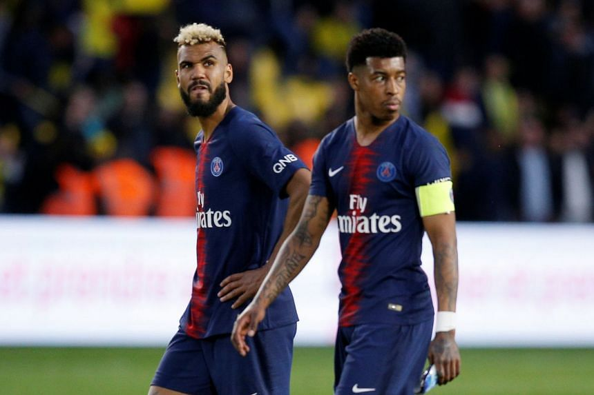 Paris St Germain players look dejected after the match.