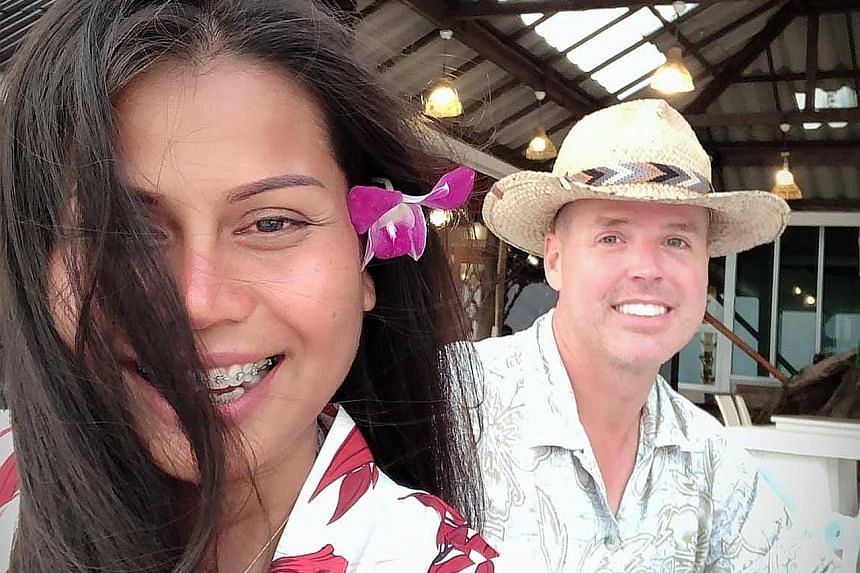Bitcoin investor Chad Elwartowski (above, with girlfriend Supranee Thepdet) said the couple had the seastead, a floating living platform, built off the coast of Phuket island as they wanted to live somewhere free.