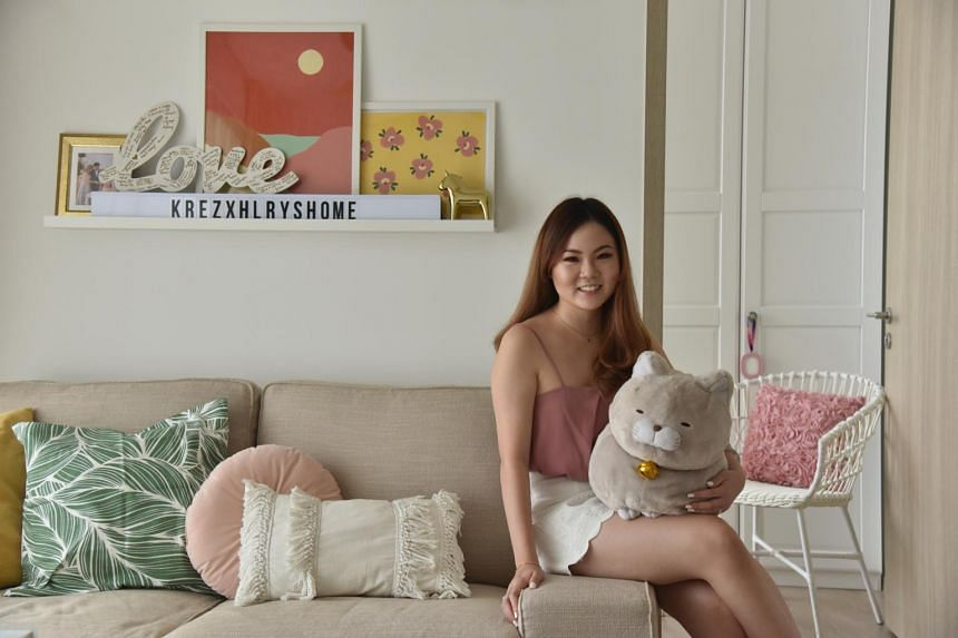 Freelance content creator Hilary See, 27, spent under $8,000 to furnish her dream home, a 53 sq m one-bedroom-plus-study executive condominium apartment in Choa Chu Kang.