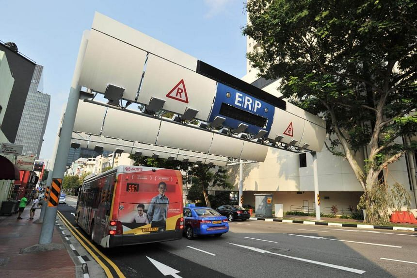 Electronic road pricing (ERP) gantry near Boat Quay.