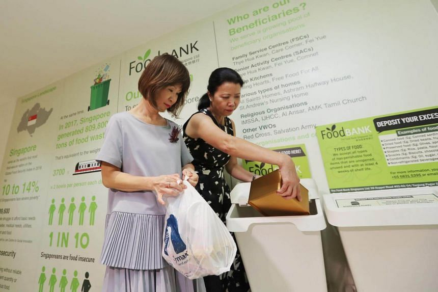 Senior Minister of State for the Environment and Water Resources Amy Khor (left) visiting the sustainability area at Compass One with the mall's centre general manager Sharon Tan on April 15, 2019.