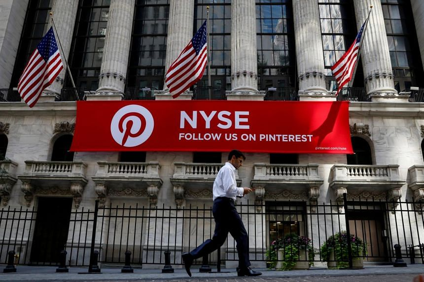 A Pinterest banner outside the New York Stock Exchange on Sept 22, 2017. The firm's IPO was above expectations.
