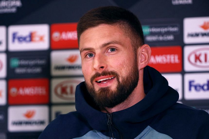 Chelsea's Olivier Giroud reacts during a press conference.