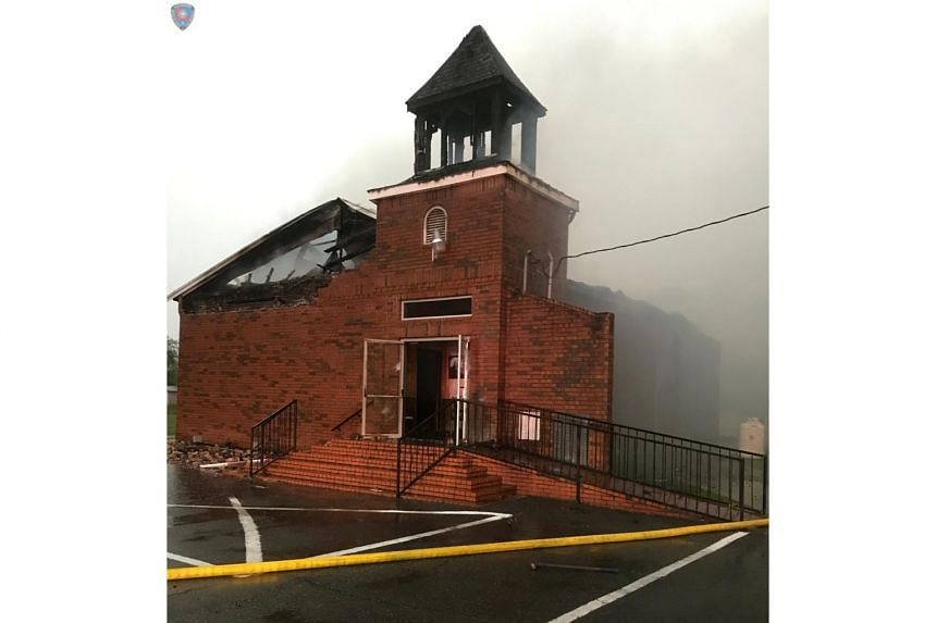 The Mount Pleasant Baptist Church after a fire in Opelousas, Louisiana, US, on April 4, 2019.