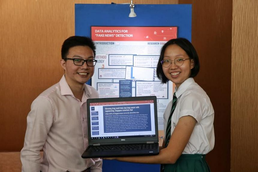 Raffles Institution student Liu Haohui, 17, and her mentor from Defence Science and Technology Agency Ryan Tarn, 30, showcasing her project on April 18, 2019.