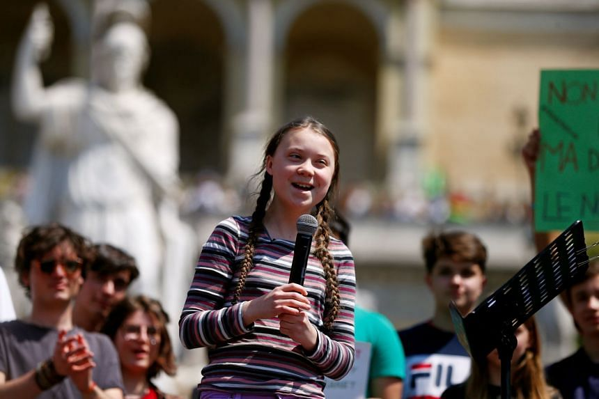 Thunberg joins Italian students in Rome to demand action on climate change.