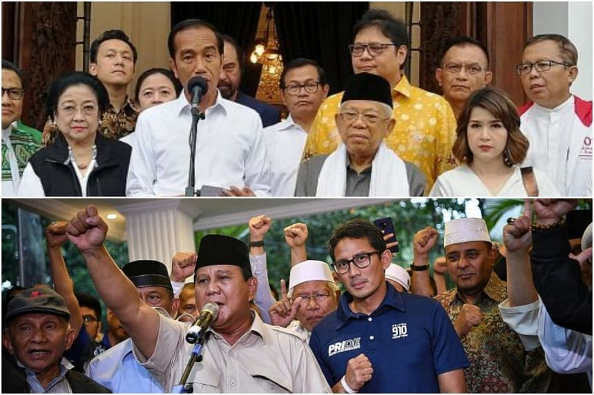 (Top) Mr Joko Widodo speaking to the media yesterday, flanked by running mate Ma'ruf Amin and PDI-P leader Megawati Soekarnoputri, and Mr Prabowo Subianto, together with running mate Sandiaga Uno (in blue), declaring to the media yesterday that they