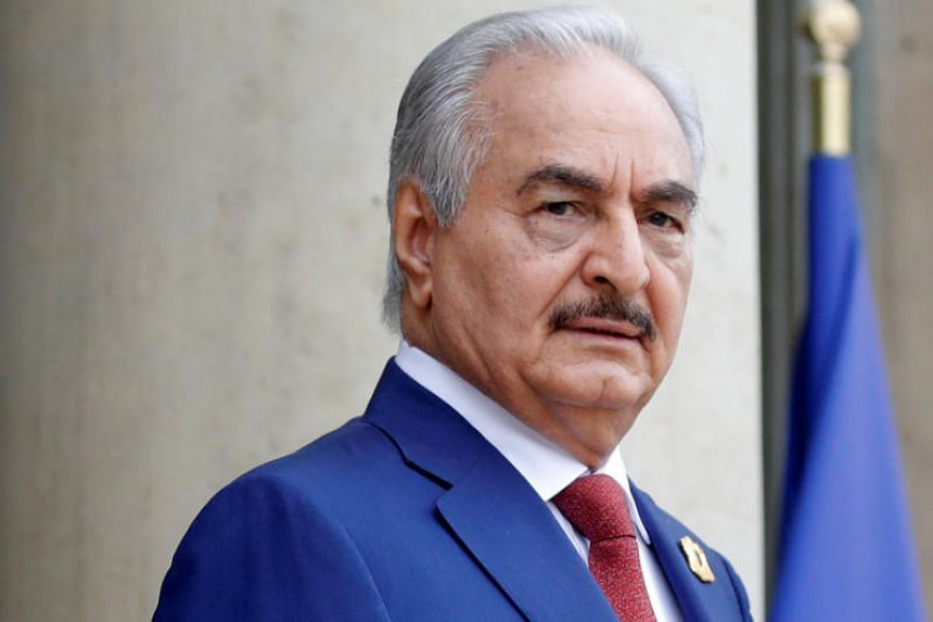 Khalifa Haftar, the military commander who dominates eastern Libya, at an international conference on Libya at the Elysee Palace in Paris, France, on May 29, 2018.