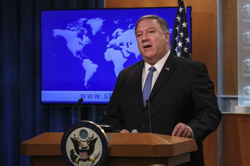 US Secretary of State Mike Pompeo at a press briefing at the US Department of State, in Washington, DC,  on April 17, 2019.