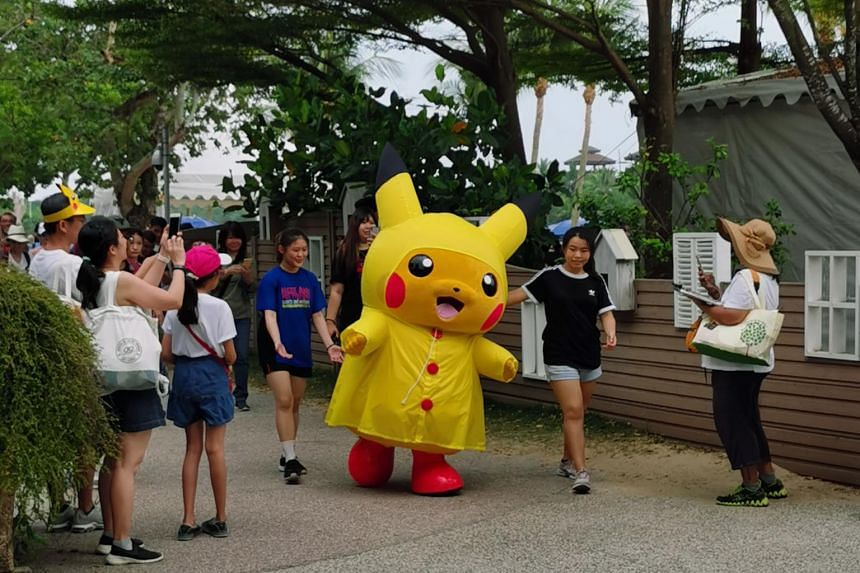 The crowd participating in the Pokemon Go Safari Zone event at Palawan Beach in Sentosa on April 19, 2019.