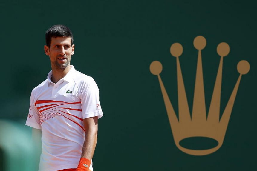 Novak Djokovic of Serbia reacts during his quarter-final match against Daniil Medvedev (not pictured) of Russia at the Monte-Carlo Rolex Masters tournament in Roquebrune Cap Martin, France, on April 19, 2019.