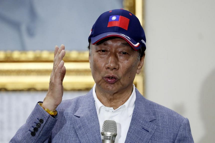 Foxconn founder Terry Gou speaks inside the Kuomintang Party (KMT) headquarters in Taipei on April 17, 2019.