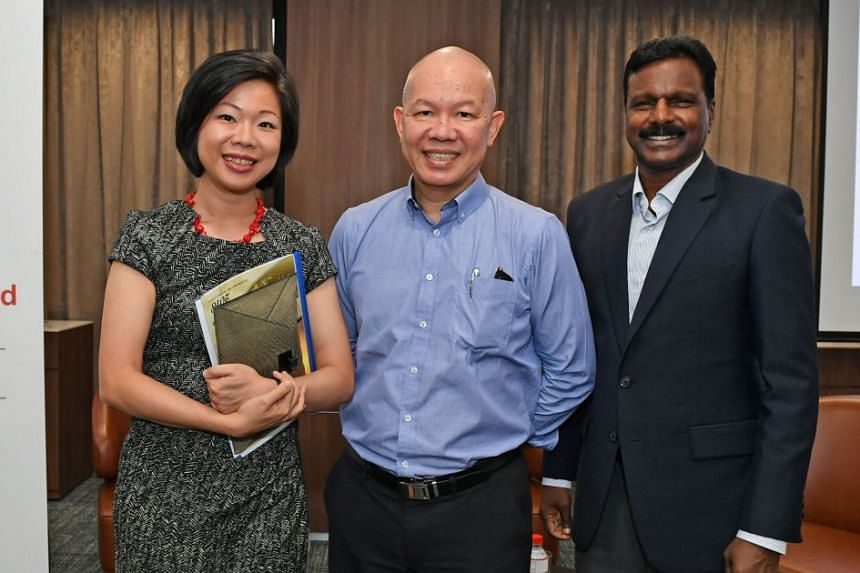 Senior Minister of State Sim Ann with Mr Leong Sow Hoe, president of the Insurance and Financial Practitioners Association of Singapore, which supports the awards; and Mr M. P. Sellvem, president of the Civilians Association of Singapore, which organ
