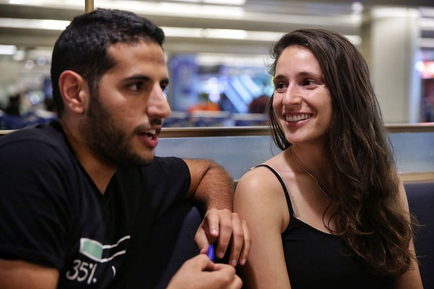 Nas Daily founder and travel vlogger Nuseir Yassin and his girlfriend Alyne Tamir arriving at Changi Airport Terminal 2.