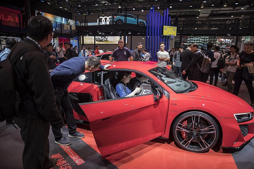 An Audi R8 sports car at the Auto Shanghai 2019 show, where one of the hot topics is vehicles tailored for an on-demand market. PHOTO: BLOOMBERG