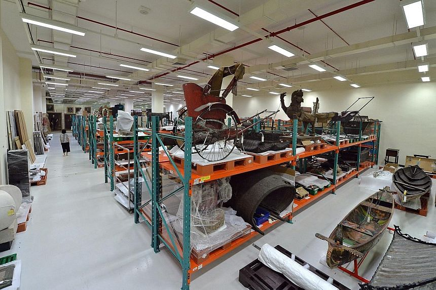 The repository at the National Heritage Board's Heritage Conservation Centre, which houses more than 150,000 artefacts from the National Collection.