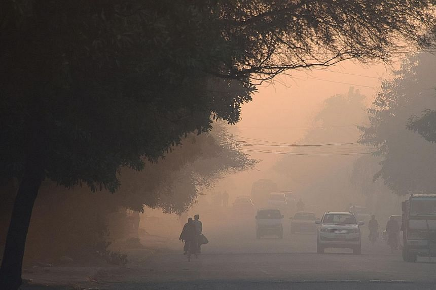 Heavy smog in Gurugram, which was named by a study as India's most polluted city, last month. Pollution levels have doubled in many cities over the past decade due to factors including increasing vehicle numbers.