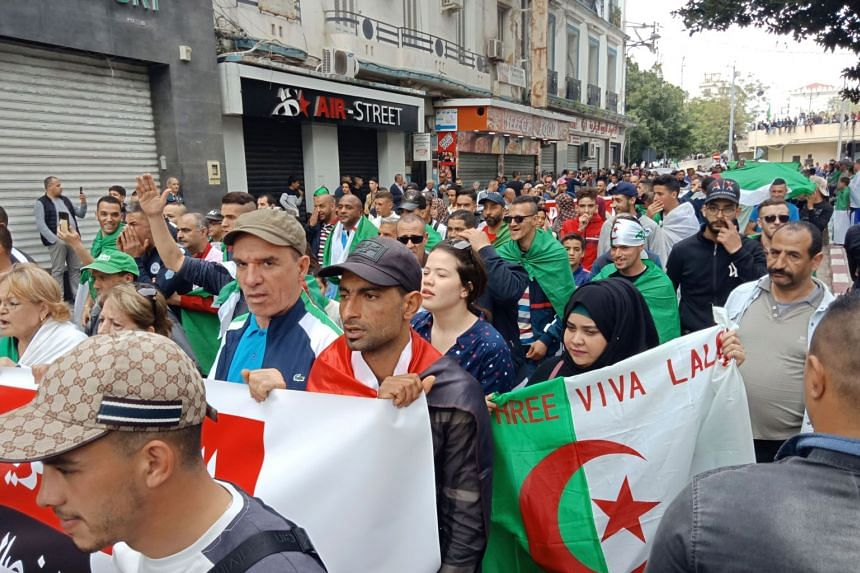 Algerians take part in a demonstration in the northeastern city of Annaba.