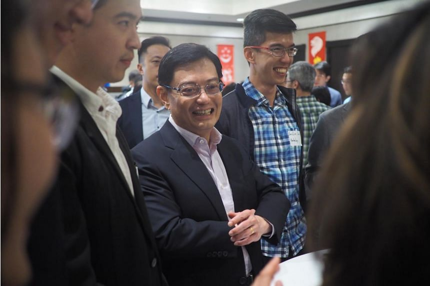 Minister of Finance Heng Swee Keat at a reception with Singaporeans living in the San Francisco Bay Area on April 19, 2019.