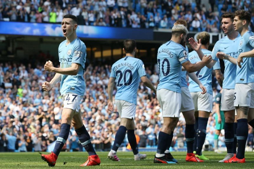 Manchester City's Phil Foden celebrates scoring a goal during the English Premier League match against Tottenham Hotspur at the Etihad Stadium in Manchester on April 20, 2019.